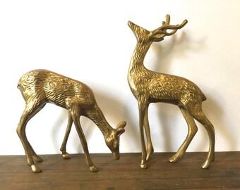 Vintage Brass Deer FigurineS ~Male & Female deer ~Christmas decor ~ Woodland forest Mid Century Hollywood Regency