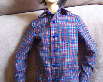 SALE - Royal Blue Cotton Plaid Shirt for 70 cm Slender BJD Boy Dolls