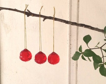 Red Christmas baubles  Christmas Tree ornament Christmas Decoration Vintage Tree Decoration holiday baubles, set of 3