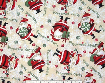 Christmas Fabric - Peppermint Santa Claus Toss Cream - Wilmington Prints YARD