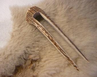 Elk Antler Hand Carved Hair Fork Stick Comb  #5