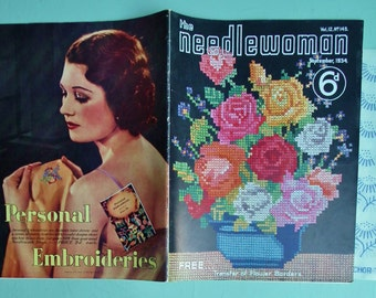 Vintage 1930s Knitting Needlework Magazine The Needlewoman September 1934 Vol. 12 No. 145 UK 30s patterns women's sweaters embroidery sewing