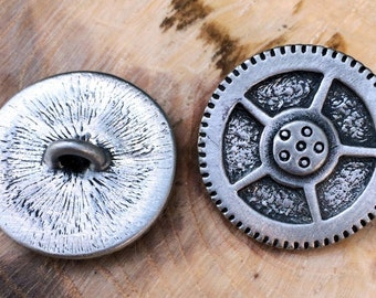 Steampunk Pewter Shank Buttons | Gear Buttons | Steam Punk Buttons | Metal Shank Buttons | 15/16 Inch (24 mm) | by Treasure Cast Pewter