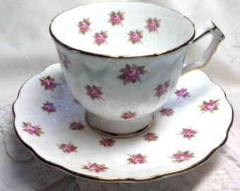 Teacup Aynsley Cup & Saucer Tiny Pink Roses Tea Cup and Saucer with Gilt trim Bone China Made in England - Elegant Dining Super Holiday Gift