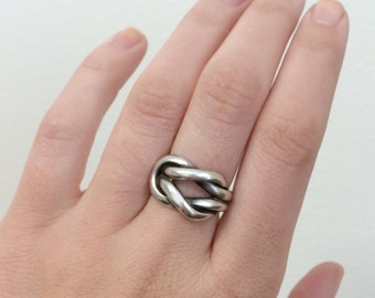 925 silver braided statement ring size 6