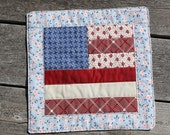 Flag Coaster kitchen coaster pot holder trivet patchwork  table decor mug rug candle mat snack mat coffee mug mat handmade usa