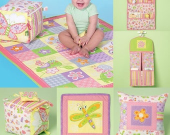 NURSERY ACCESSORIES PATTERN / Baby Patchwork Quilt - Block - Pillow - Wall Hanging - Organizers