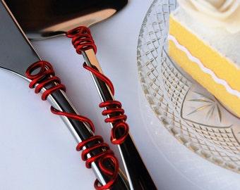 Red wedding cake cutting set server knife wire modern wedding table decor custom decor bridal shower party cake cutter cake cutting ceremony