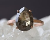Natural Olive-Green Rose Cut Diamond Ring