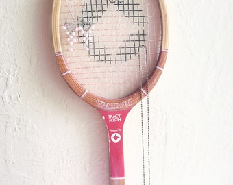Vintage Red Spaulding Tracy Austin Wooden Tennis Racket Sports Wall Hanging Jewelry Rack Bulletin Board