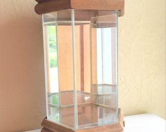 SALE - Large Terrarium Glass with Mirrors and Wood Wooden Frame Farmhouse Style musical