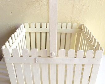 Painted Cream Off-white Cottage Style Decor Wood Garden Tote Wooden Basket with Handle