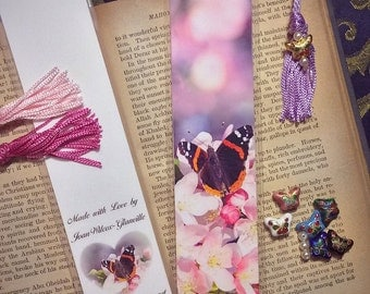 Red Admiral Butterfly & Spring Blossoms Laminated Photo Bookmark w/ Cloisonne Butterfly and Pearl Beads