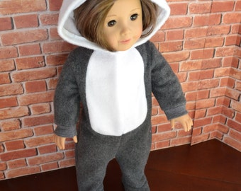 18 inch Doll Clothes - Grey Wolf Sleeper or Costume - MADE TO ORDER  - Halloween - fits American Girl