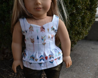 18 inch Doll Clothes -   Multi Arrows Peplum Top - GOLD BLUE WHITE - fits American Girl