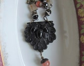 Antique Bog Oak Acorn Assemblage Necklace - Repurposed Bog Oak Belt Buckle - 1800's
