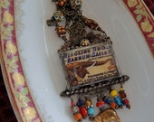 Soldered Glass Assemblage Necklace - Ringling Brothers