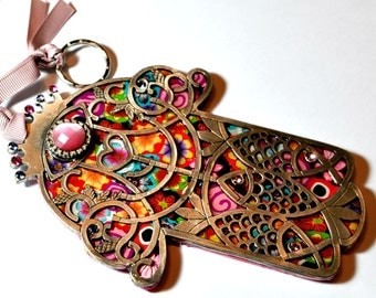 NEW HandMade colorful polymer clay Hamsa Hanging wall decor by orly kliger