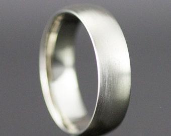 Mens White Gold Wedding Ring - 6mm Half Round Band  - 14k White, Yellow or Rose Gold