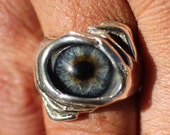 Sz 7.5 Sterling Silver Blue Prosthetic Glass Eye Ring for client arlina111