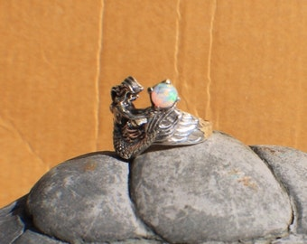 Sterling Silver Mermaid Ring with Opal