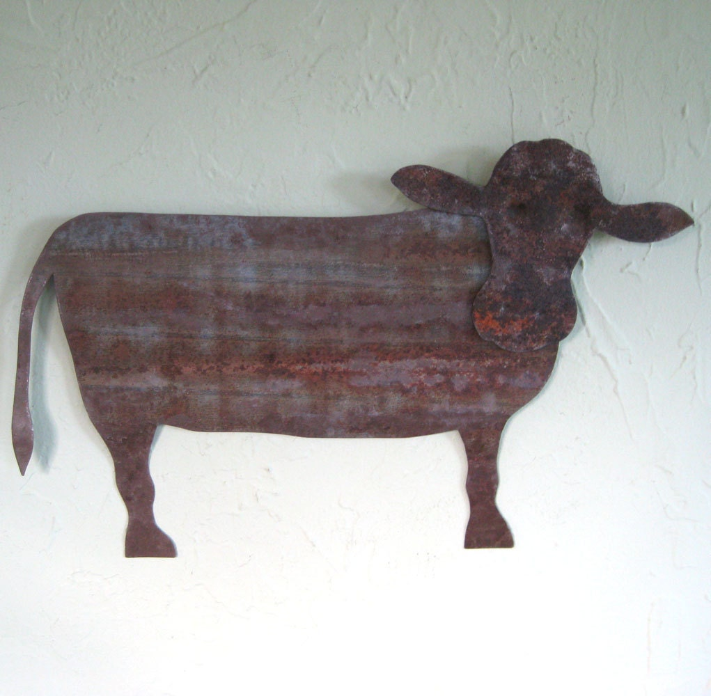 Metal Wall Decor Animals : Metal art wall sculpture cow farm animal by