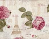 La Vie En Rose Fabric Eiffel Tower Fabric Paris Fabric French Fabric Arch of Triumph Fabric France Fabric Romantic Floral 2 Yards