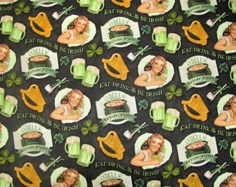 Irish Pub Celtic Fabric St Patricks Day Fabric Eat Drink & Be Irish Holiday Fabric Shamrock Fabric Beer Fabric Retro Fabric BTY
