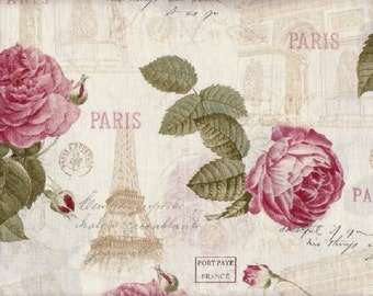 La Vie En Rose Fabric Eiffel Tower Fabric Paris Fabric French Fabric Arch of Triumph Fabric France Fabric Romantic Floral 1.25 Yards