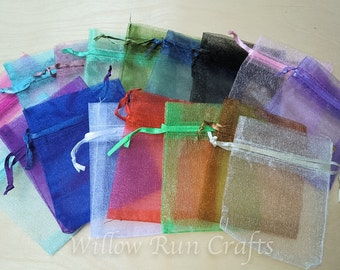 150 Pack 3 in x 4 in Organza Gift bags, Different Colors (222-222-222)