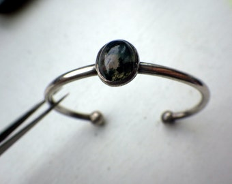 Delicate Moss Agate Sterling Silver bracelet - Cuff Style.