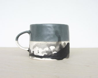 Porcelain Pinched Splatter Mug in Storm Gray - Made to Order