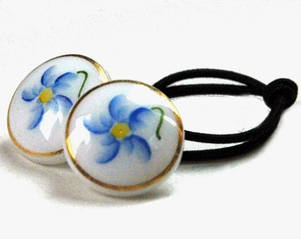 Vintage China Buttons Restyled as Decorative Hair Tie, Delicate Blue Flowers, Hand-Painted, Ponytail Holdel Elastic, Folksy Boho Style