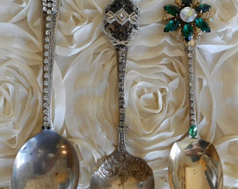 Handmade Bejeweled Serving Spoons