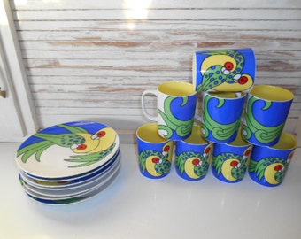 8 Piece Set Fitz and Floyd Variations Parrots 1979 Snack Set Plates Mugs Tropical