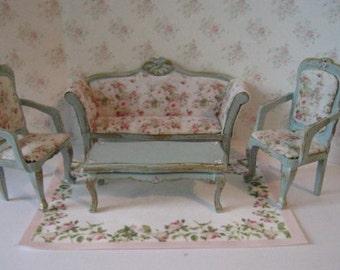 Dollhouse lounge, five piece lounge, blue living room, miniature living room, tatty chic, ,  miniature