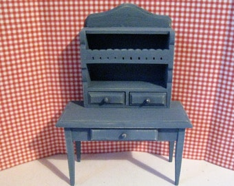 Dollhouse Kitchen shelf, shelf,   small table,  country blue, hand painted table,   country, twelfth scale, dollhouse miniature