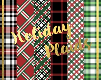 Holiday Plaid Digital Paper Pack (Instant Download)