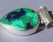 Vintage Morenci Azurite and Malachite in .925 Sterling Silver Pendant~SALE-see shop announcement, please!