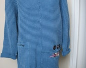 Women's Spring Top,  Cotton Focus Tunic, Blue Long Sleeve, Cotton Small Waffle, Focus clothing, Appliqued Fabric Collage