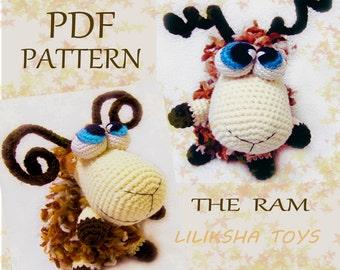 Amigurumi pattern - The Ram . Zodiac Toys Series .