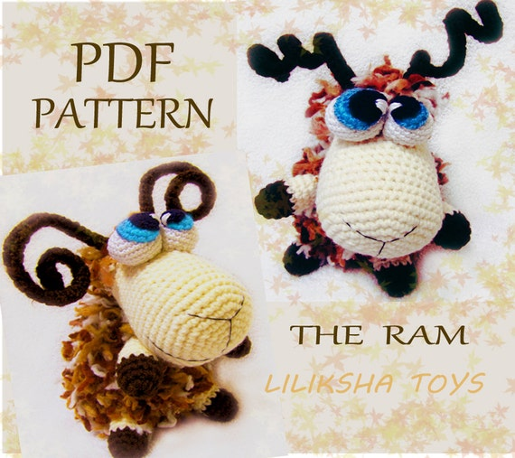 Amigurumi pattern - The Ram . Zodiac Toys Series .