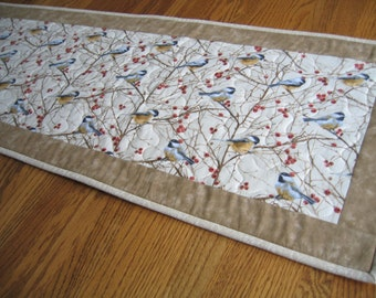 Quilted Table Runner in Chickadees and Red Berries