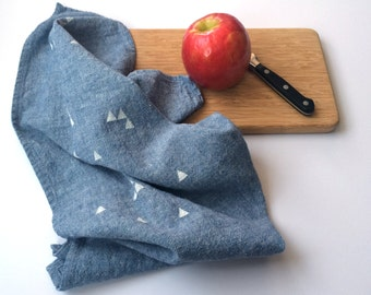 Triangle Towel : Chambray Ground - White Print