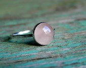 Hammered Fine Silver Ring with 10 mm Rose Quartz Stone