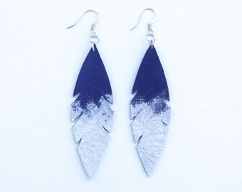 Leather Feather Earrings - Royal Blue Suede dipped in Silver with Silver Nickel Free Ear Wires