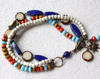 Colorful Multi Strand Bracelet, Bohemian style bracelet, blue white and orange, triple strand bracelet