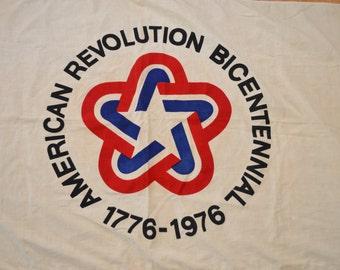 Vintage AMERICAN REVOLUTION BICENTENNIAL flag 1976 cotton canvas 3 x 5 feet