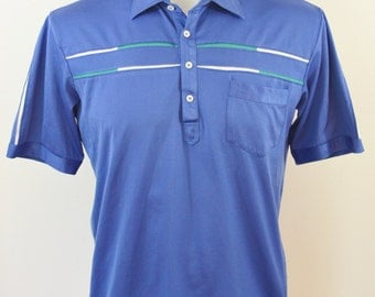 Vintage Parker of Vienna Men's Blue Collar Shirt Polo Style Cotton Polyester Size Large