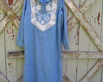 Rain - vintage 1960s Mexican Oaxacan dress M L XL
